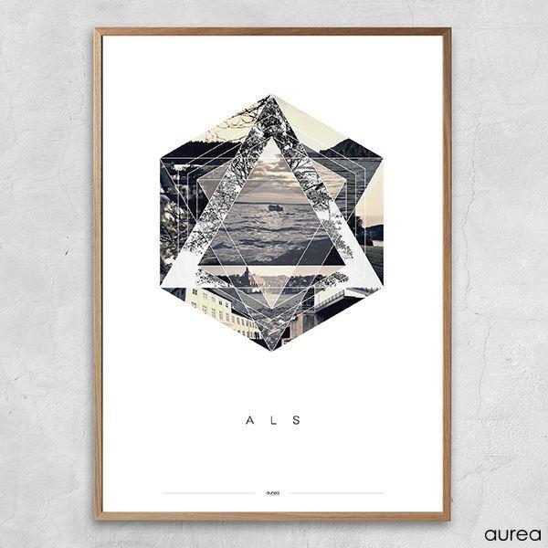 Super Plakat - Als, grafisk. med billeder fra Als. RQ39