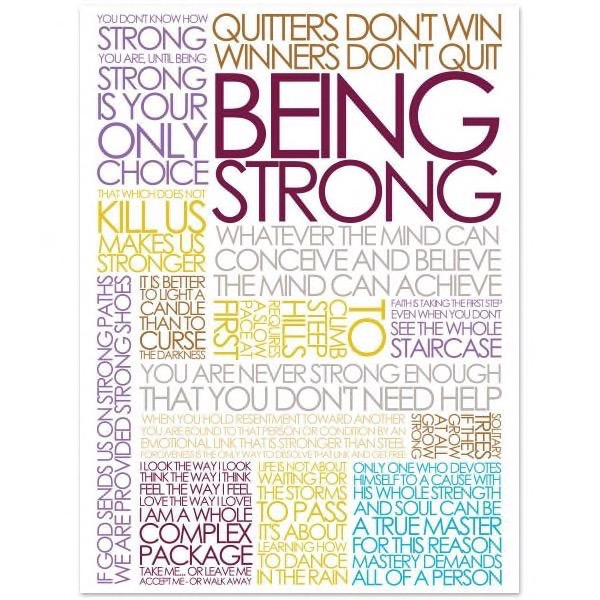 Plakat med Citatcollage - Being Strong - colours