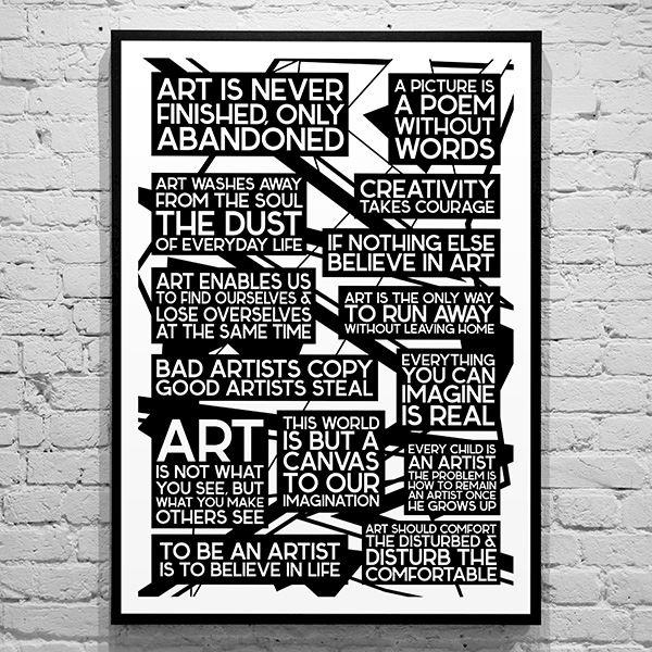 citater om kunst Plakat   Art Qoutes   Sort/hvid, citater om kunst. citater om kunst
