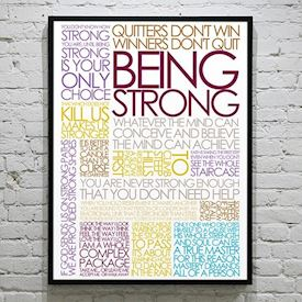 Plakat med Citatcollage - Being Strong - colors