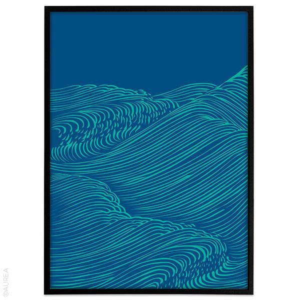 Plakat Graphical blue waves no1