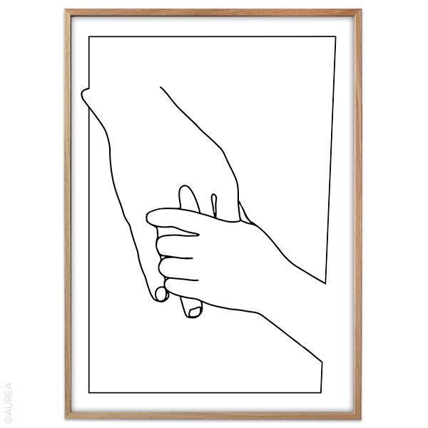 One line drawing, holding hands plakat