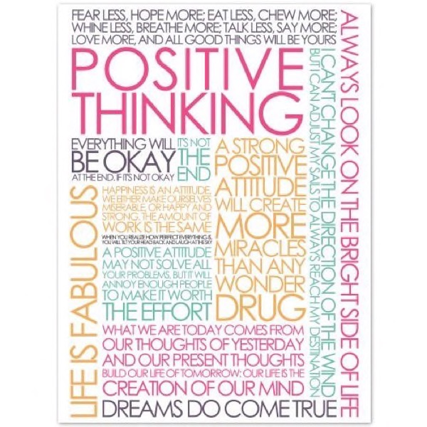 Plakat med Citatcollage - Positive Thinking - colours