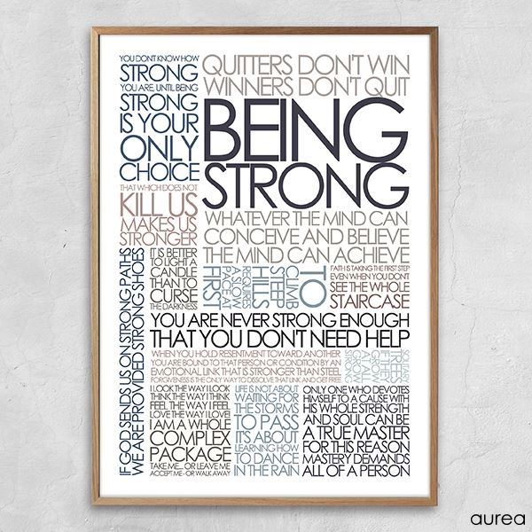 Citatcollage plakat being strong, douce farver