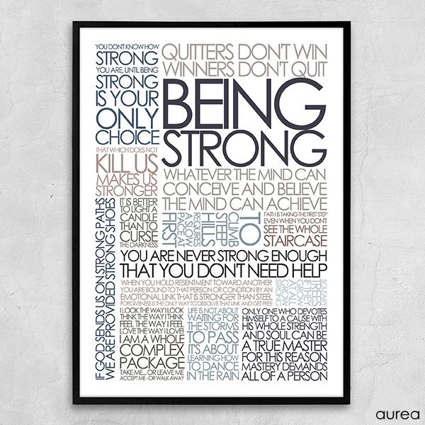 Being strong plakat i douce farver