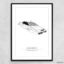 "Plakat - Kendte biler, Lotus Esprit fra ""The spy who loved me"""