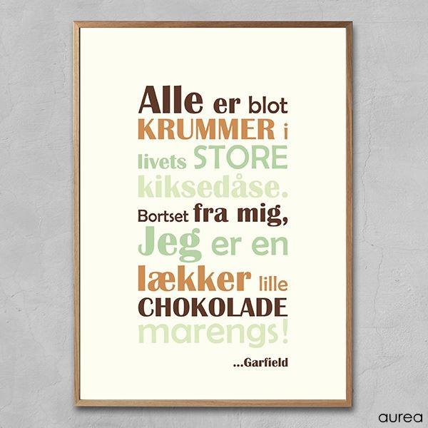 Plakat med citat af Garfield - Chokolademarengs