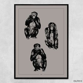 Plakat - Three monkeys
