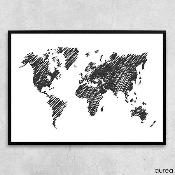 verdenskort sort hvid plakat
