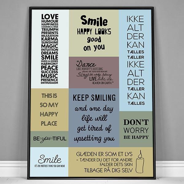 citater om glæde Plakat med citater om glæde, farver   flere størrelser citater om glæde