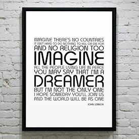 Plakat med Sangtekst - Imagine