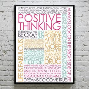 Plakat med Citatcollage - Positive Thinking - colors