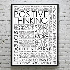 Plakat med Citatcollage - Positive Thinking, sort/hvid