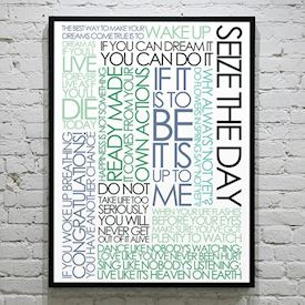 Plakat med Citatcollage - Seize the Day - colours