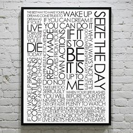 Plakat med Citatcollage - Seize the Day