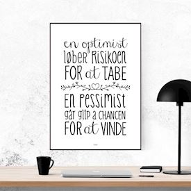 Plakat - En Optimist - sort/hvid