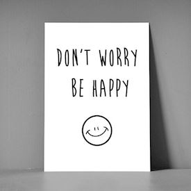 Postkort A5 - Don't worry be happy