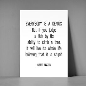 Postkort A5 - Everybody is a genius
