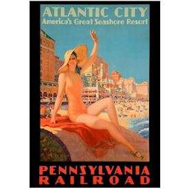 Retro Plakat - Atlantic City, Strand.